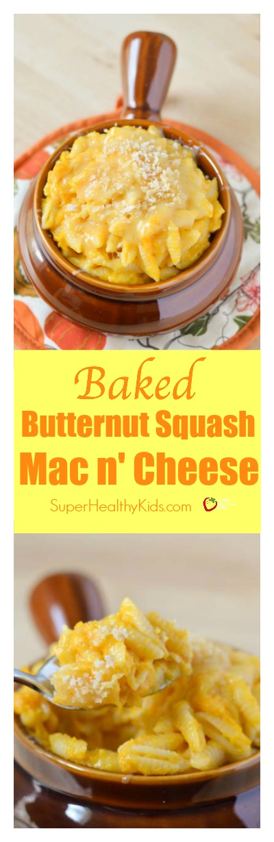 FOOD - Baked Butternut Squash Macaroni and Cheese! Creamy and delicious macaroni and cheese without butter, milk and tons of cheese! http://www.superhealthykids.com/baked-butternut-squash-macaroni-cheese/