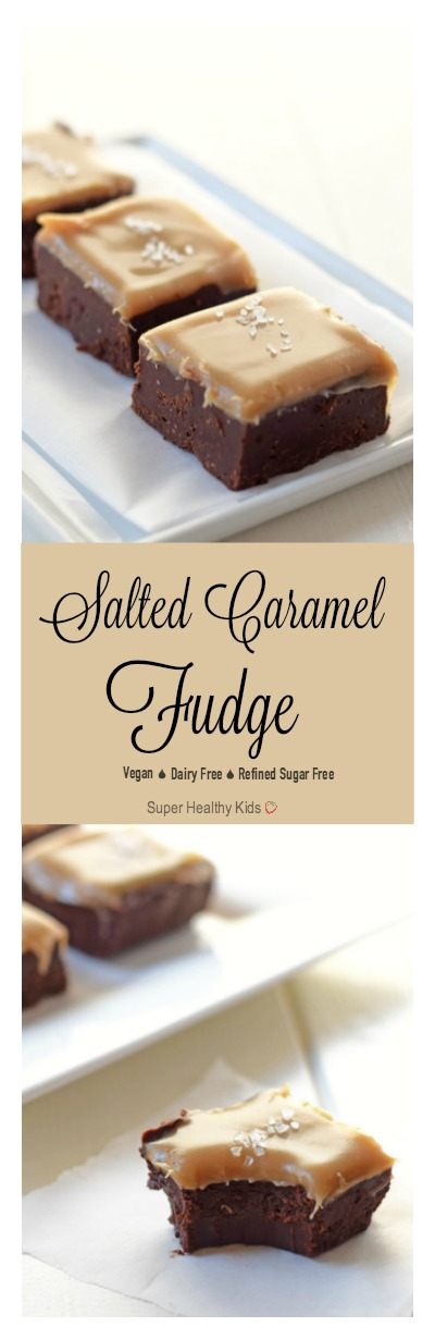 Salted Caramel Fudge Recipe. Gooey, amazing fudge that is made with whole food ingredients. This is definitely a recipe to put in your pocket.......or your favorite Pinterest board! http://www.superhealthykids.com/salted-caramel-fudge-recipe/