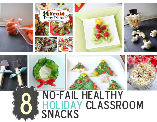 8 No-Fail (HEALTHY) Holiday Classroom Snacks. Instead of all the junk - try some of these ideas! http://www.superhealthykids.com/8-no-fail-healthy-holiday-classroom-snacks/