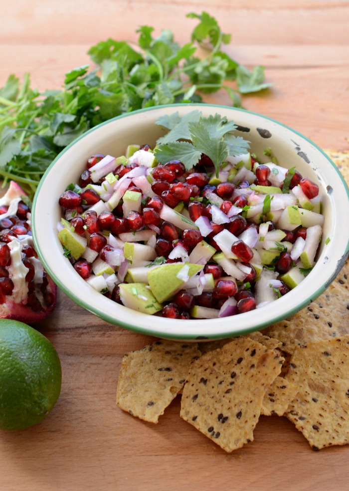 Quick and Easy Pear and Pomegranate Salsa. These flavors combined are amazing! www.superhealthykids.com