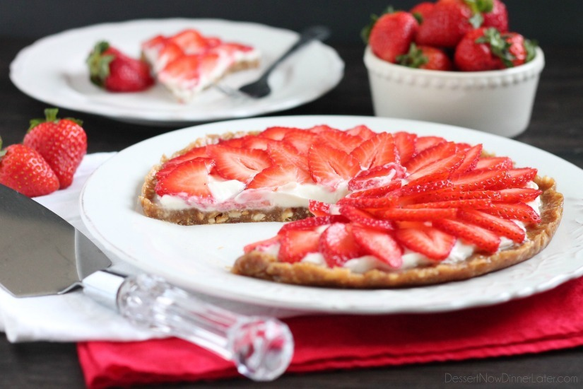 Strawberry Greek Yogurt Tart. This strawberry greek yogurt tart is secretly healthy and can be eaten for breakfast or dessert. Perfect for Valentine's day too!