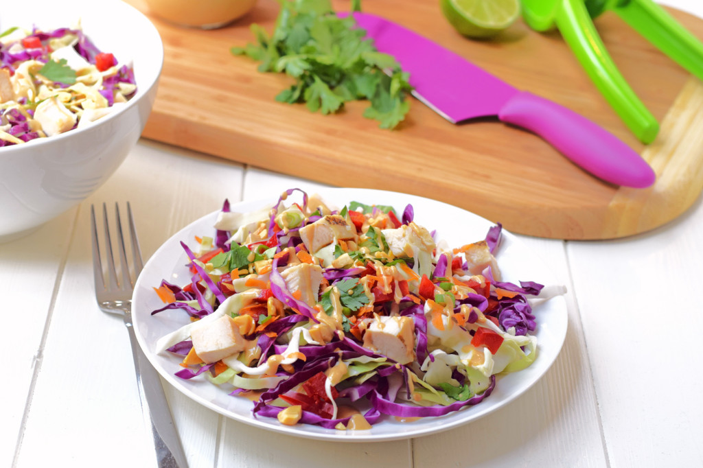 Rainbow Chicken Salad: Adults and kids will love this colorful, healthy salad! Made with fresh veggies and a delicious homemade peanut dressing.