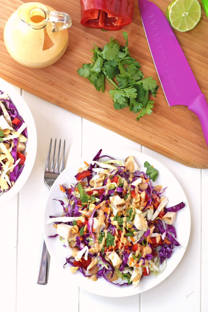 Rainbow Chicken Salad. Adults and kids will love this colorful, healthy salad! Made with fresh veggies and a delicious homemade peanut dressing.
