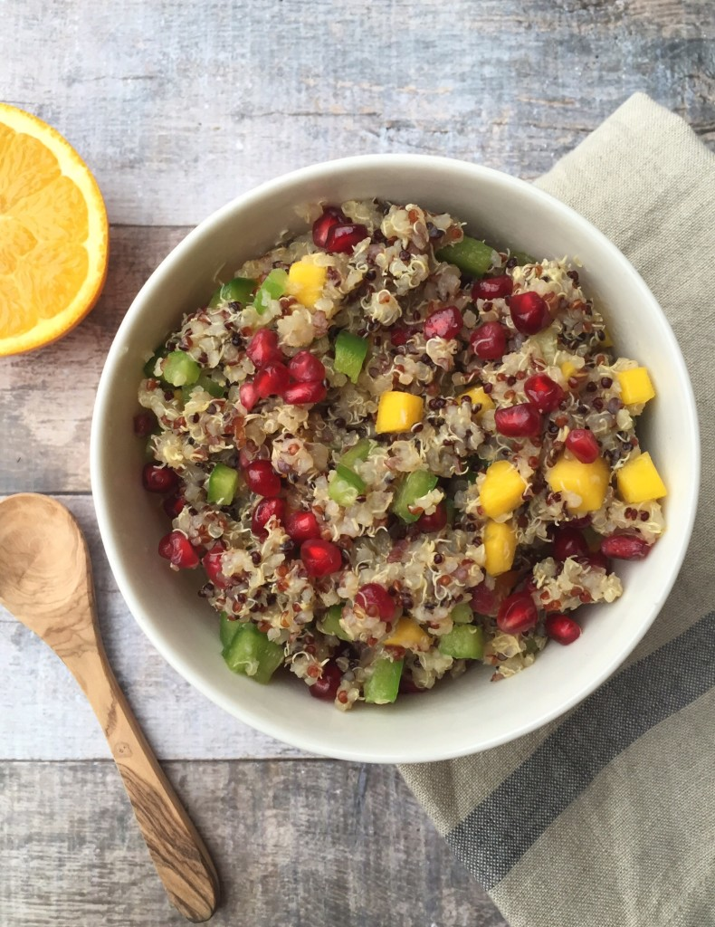 Colorful Warm Quinoa Salad. The sweet and savory dressing really makes the dairy free, gluten free, egg free, nut free and produced packed dish incredible.
