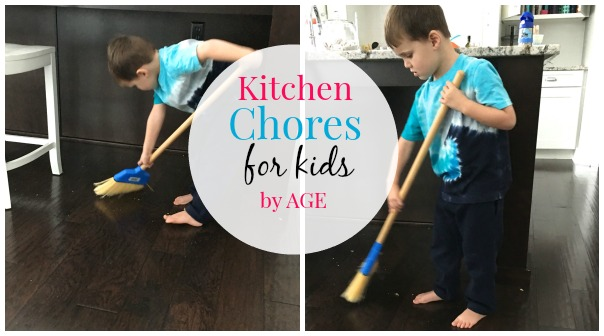 Printable chart with age appropriate chores for kids in the kitchen from..