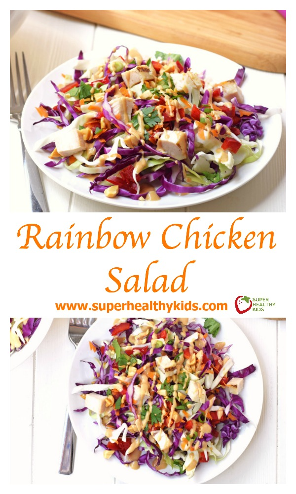 FOOD - Rainbow Chicken Salad. Adults and kids will love this colorful, healthy salad! Made with fresh veggies and a delicious homemade peanut dressing. http://www.superhealthykids.com/rainbow-chicken-salad/