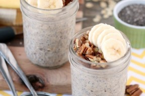 Banana bread inspired overnight oats are quick to whip up for a great breakfast or snack on-the-go!