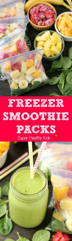 FOOD - Freezer Smoothie Packs. Just add water or milk to these make ahead freezer smoothie packs for a quick, delicious, and nutritious breakfast or snack anytime! http://www.superhealthykids.com/freezer-smoothie-packs/