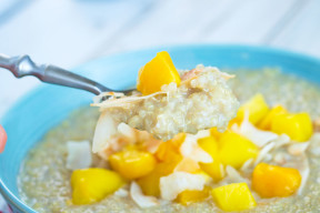 Breakfast Quinoa with Mango and Toasted Coconut