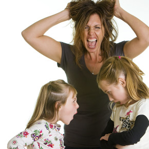 Stressed out Mom with fighting kids
