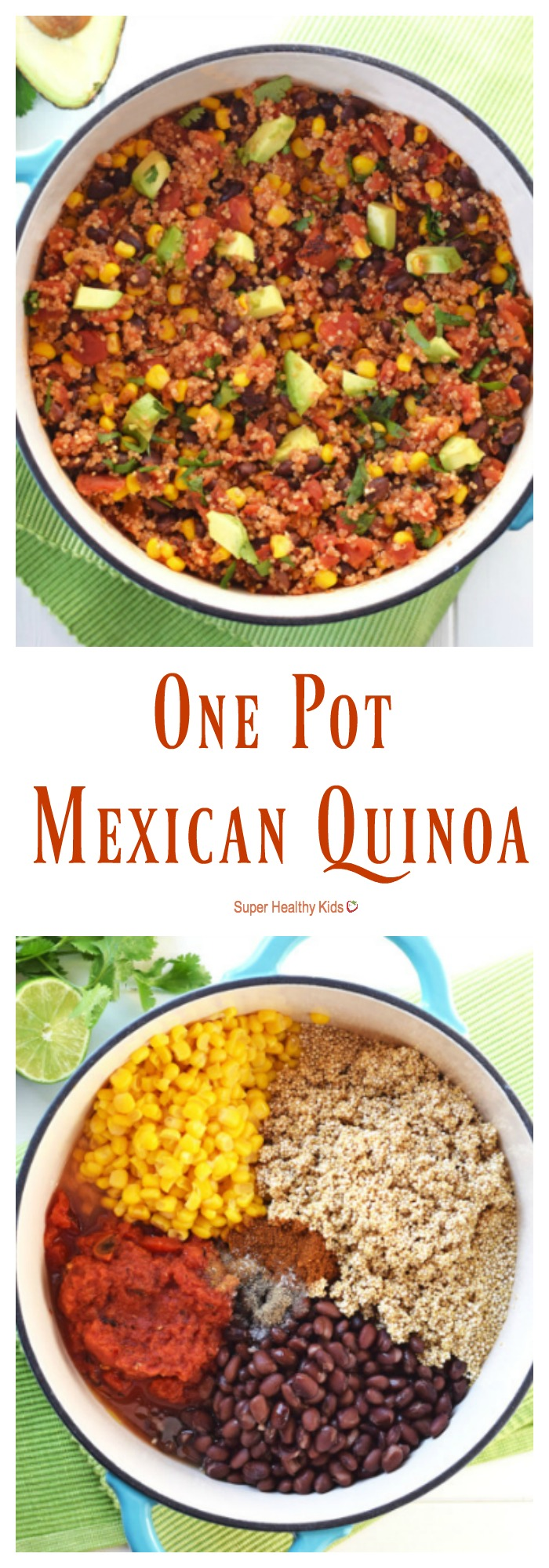 FOOD - One Pot Mexican Quinoa. Packed with protein and vegetables, it only takes 20 minutes to have this healthy, nutritious, gluten free dish on the table! http://www.superhealthykids.com/one-pot-mexican-quinoa/