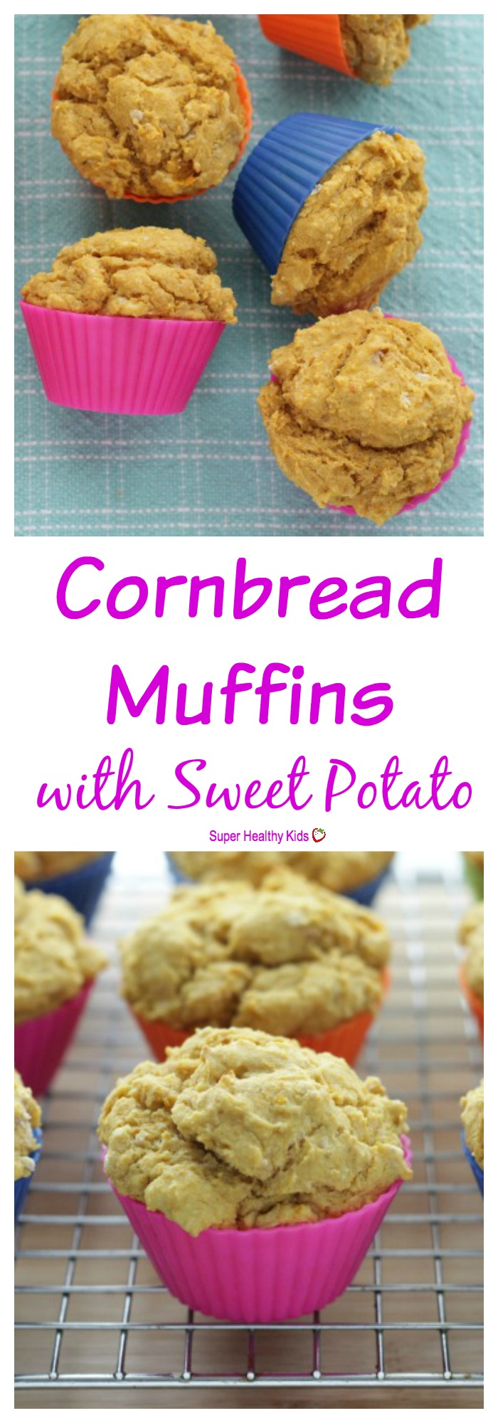 FOOD - Cornbread Muffins with Amazing Sweet Potato. Packed with sweet and nutritious sweet potato, your family will love these moist cornbread muffins. They are even dairy-, egg-, and nut-free! http://www.superhealthykids.com/cornbread-muffins-amazing-sweet-potato/
