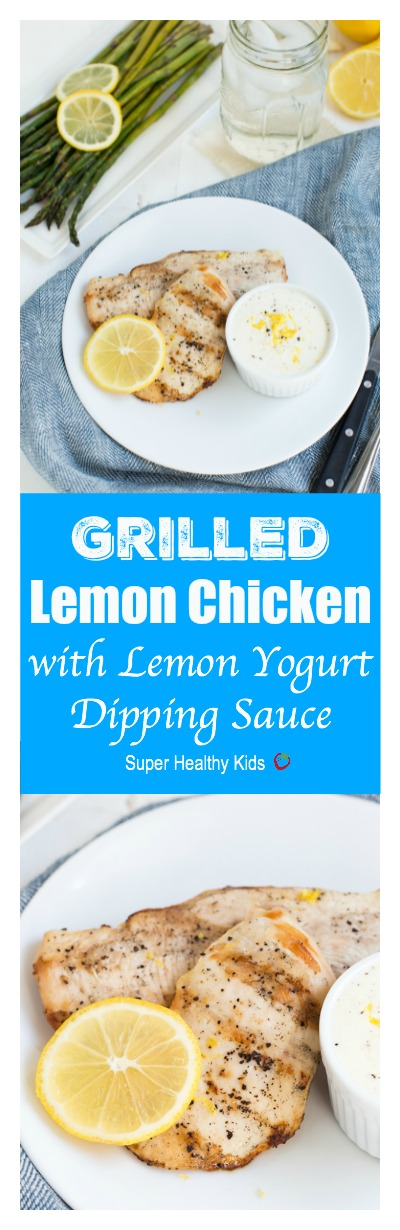 Lemon Grilled Chicken is an easy yet flavorful recipe! Kids and adults will love dipping the delicious chicken in the lemon yogurt dipping sauce.