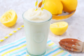 A delicious and refreshing recipe for homemade Frosted Lemonade made a little healthier!