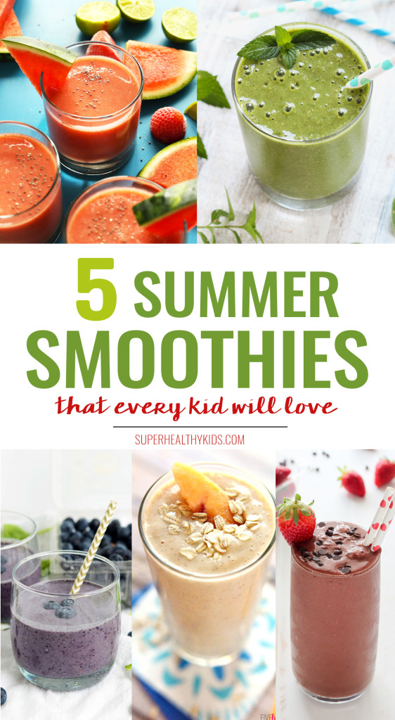 5 super healthy Summer Smoothies that every kid will love! www.superhealthykids.com