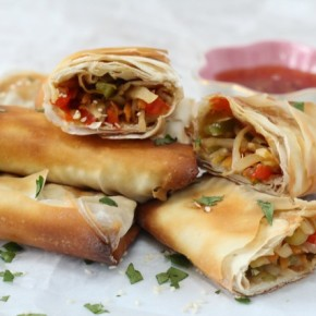 Delicious veggie packed spring rolls, baked to make them a little healthier!