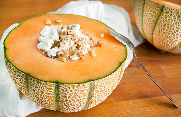 Cantaloupe bowl with cottage cheese