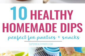 5 super healthy Homemade Dips that every kid will love! Perfect for parties or snack time!
