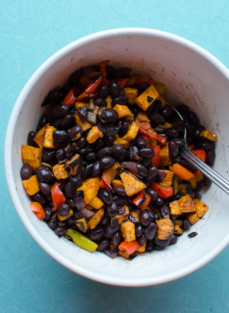 Roasted Sweet Potato and Black Bean Enchilada recipe. www.superhealthykids.com