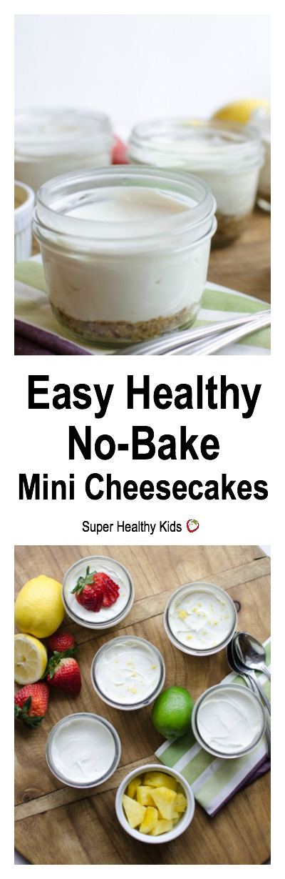 FOOD - Easy Healthy No-Bake Mini Cheesecakes. Creamy and smooth made with whole food ingredients! Add fresh fruit to the top for an amazing treat! http://www.superhealthykids.com/easy-healthy-no-bake-mini-cheesecakes/