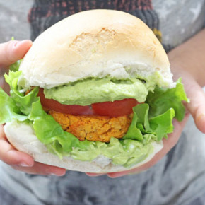 Delicious veggie burgers packed with sweet potato and chickpeas and lightly spiced with cajun seasoning