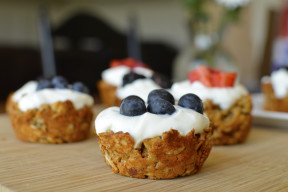 granola bar bowls with blueberries