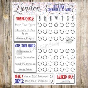 Editable Kid's Chore Chart
