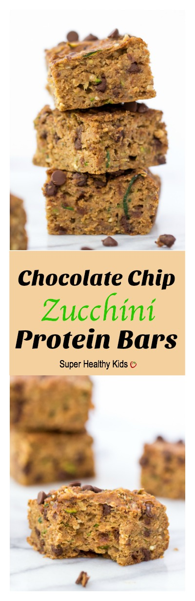 FOOD - Chocolate Chip Zucchini Protein Bars. Tons of protein from natural sources. No protein powder here! http://www.superhealthykids.com/chocolate-chip-zucchini-protein-bars/