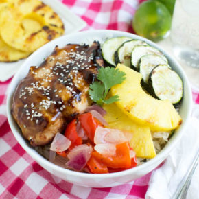 Grilled Teriyaki Chicken and Rice Bowls with grilled fresh vegetables and pineapple is the perfect summer meal!