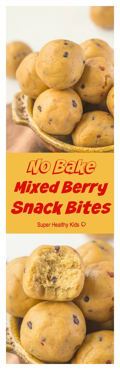No Bake Mixed Berry Snack Bites- quick, easy and delicious!
