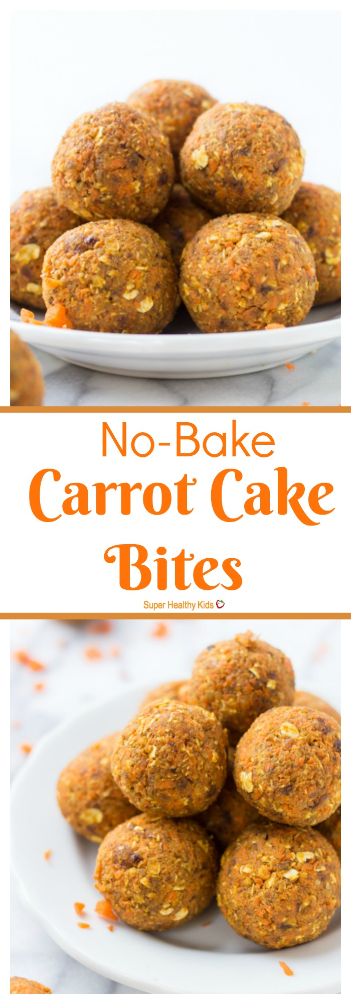 FOOD - No-Bake Carrot Cake Bites. A healthy, kid-friendly snack that is secretly packed with veggies and still tastes like dessert! http://www.superhealthykids.com/no-bake-carrot-cake-bites/