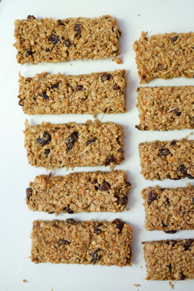 Healthy Carrot Cake Granola Bars. We love these healthy, soft carrot cake granola bars - they're tasty and include a vegetable! High in protein and fiber, this snack will keep you full!