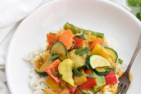 This simple veggie curry uses whatever veggies are on sale or in season. Done in less than 30 minutes!