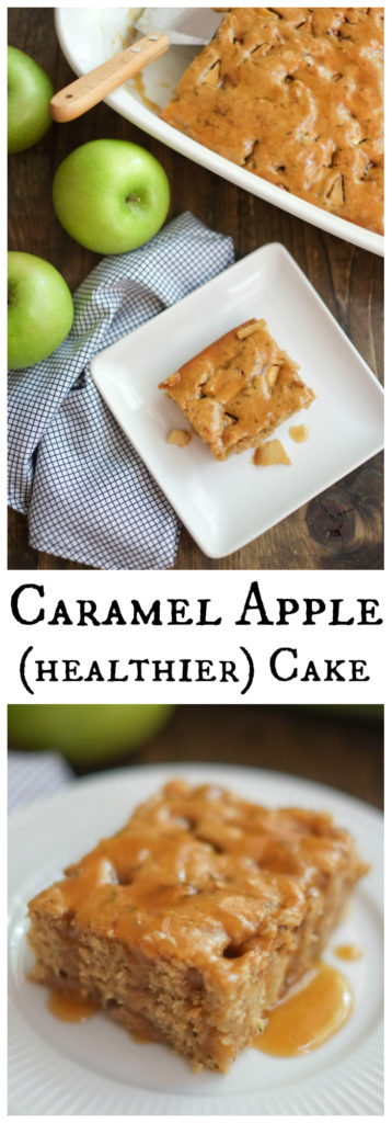 Healthier Caramel Apple Cake. This caramel apple cake tastes like a cross between a caramel apple and coffee cake - but with half the sugar and fat of similar recipes! http://www.superhealthykids.com/healthier-caramel-apple-cake-recipe/