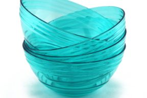 "FLEXLINE Quality Bowls - Set of 4 - Reusable Break-Resistant Plastic - 6.25"" diameter - Tiffany Blue Color by WholeMarket"