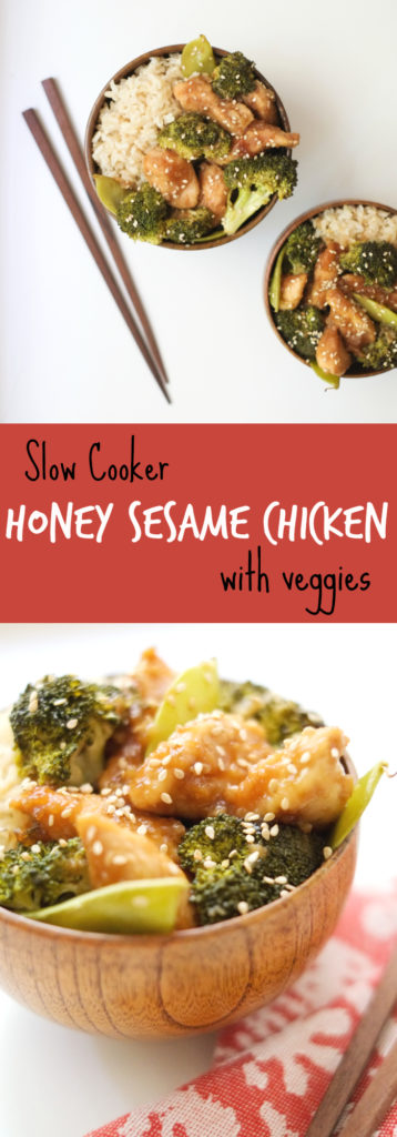 Slow Cooker Honey Sesame Chicken with Veggies. This slow cooker honey sesame chicken (with veggies!) is prepped in just 15 minutes. Then just three hours in the crock pot and you have a healthy meal! http://www.superhealthykids.com/slow-cooker-honey-sesame-chicken-veggies-recipe/