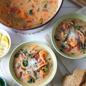 Spiralized Sweet Potato & Sausage Soup Recipe