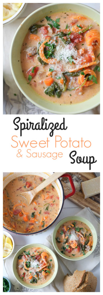 Spiralized Sweet Potato & Sausage Soup. Sweet potatoes spiralized into a creamy and flavorful soup! With just the right balance of creamy and fresh, light but filling, everyone is happy. http://www.superhealthykids.com/spiralized-sweet-potato-sausage-soup-recipe/