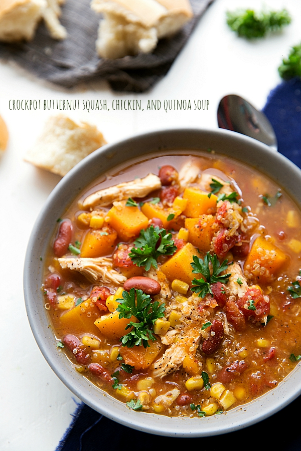 Crockpot Butternut Squash, Chicken and Quinoa Soup