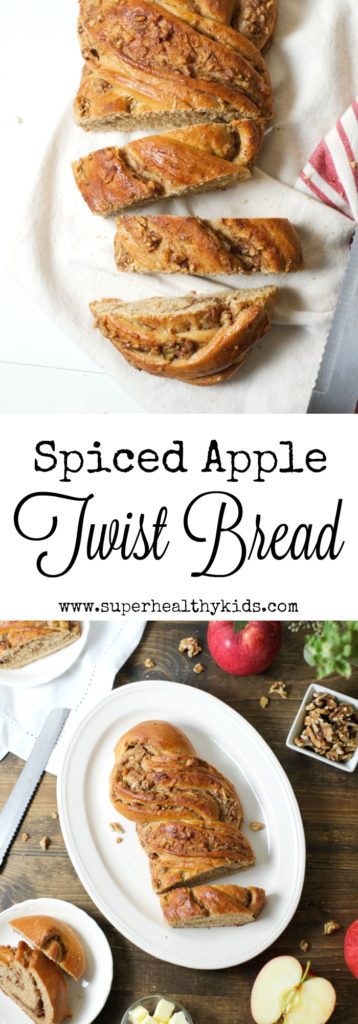 Spiced Apple Twist Bread. This spiced apple twist bread is a special fall treat for your family - without tons of sugar! It's beautiful, tasty, and healthy. http://www.superhealthykids.com/spiced-apple-twist-bread-recipe/