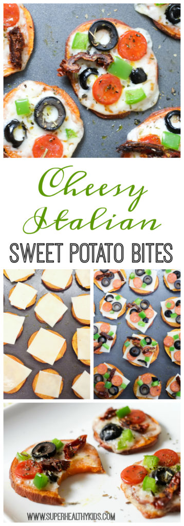 Cheesy Italian Sweet Potato Bites. A kid-friendly appetizer that adults like too! They're delicious, easy (20 minutes!), and healthy. http://www.superhealthykids.com/cheesy-italian-sweet-potato-bites-recipe/