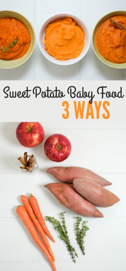 Sweet Potato Baby Food 3 Ways. Homemade baby foodis inexpensive and easy! Sweet potatoes are great to start withbecausethey're nutrient dense, tasty, and versatile. http://www.superhealthykids.com/sweet-potato-baby-food-3-ways/