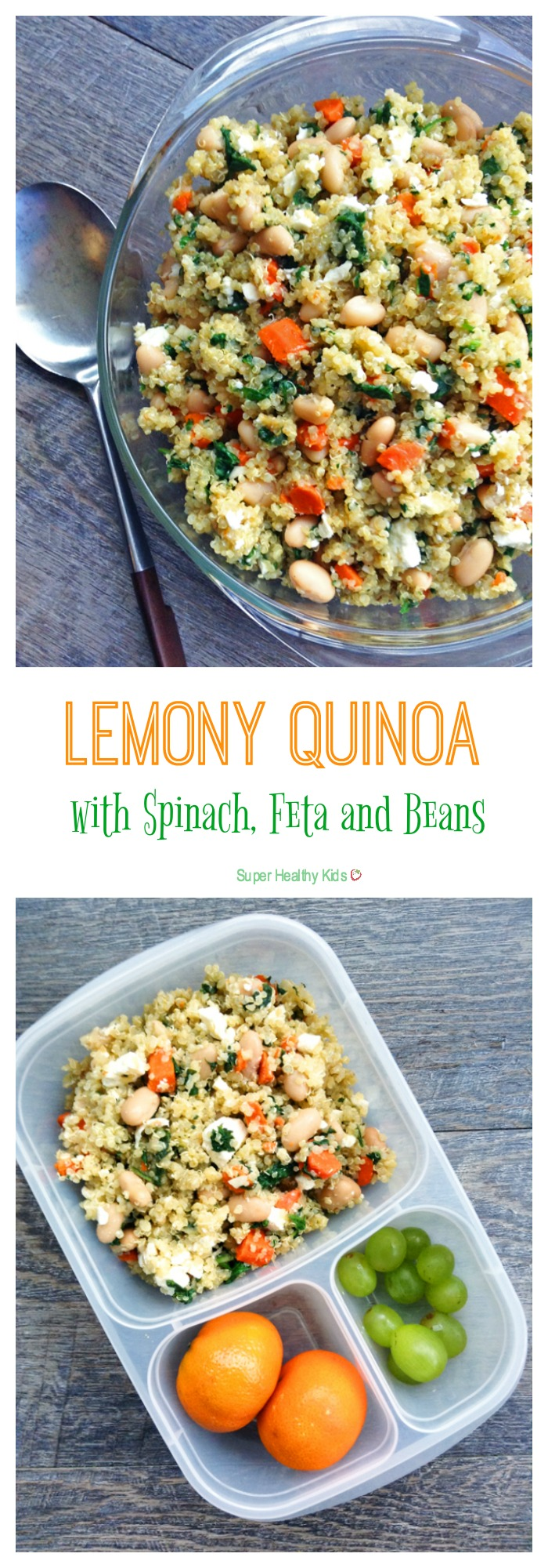 Lemony Quinoa with Spinach, Feta and Beans. Mediterranean flavors inspire this hearty, one-pot Meatless Monday meal. Make this Lemony Quinoa with Spinach, Feta and Beans this week. http://www.superhealthykids.com/lemony-quinoa-spinach-feta-beans/