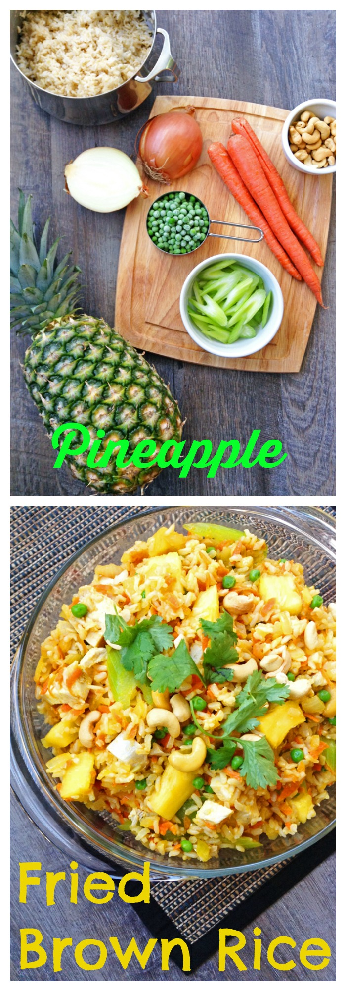 FOOD - Pineapple Fried Brown Rice. Sweet and savory whole grain Pineapple Fried Brown Rice packs fruits AND veggies into one main dish. http://www.superhealthykids.com/pineapple-fried-brown-rice/
