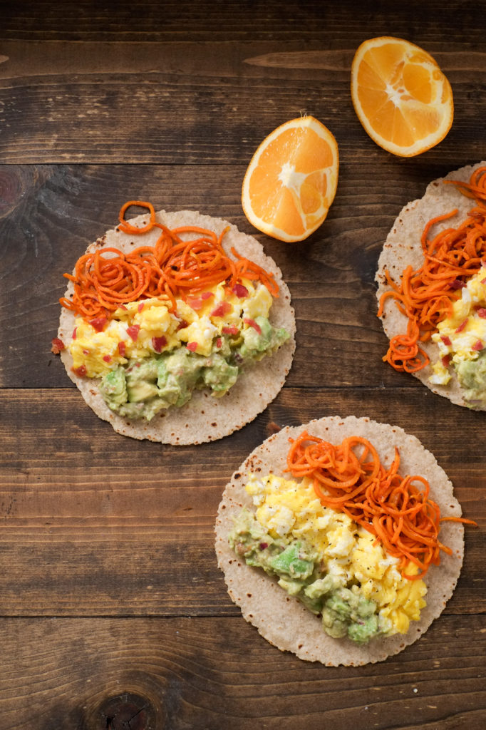 Sweet Potato Noodle & Egg Tacos with Citrus Guac [from Superfood Weeknight Meals]. Superfood Sweet potato noodle and egg tacos easily come together in under 30 minutes. Plus - recipe for fresh citrus guac that is to die for!