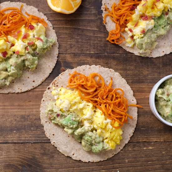 Sweet Potato Noodle & Egg Tacos with Citrus Guac | Super Healthy Kids | Food and Drink
