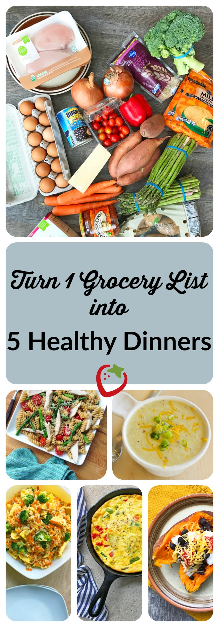 HOUSEHOLD - Turn One Grocery List into Five Healthy Dinners. Cook fresh family dinners each night this week using this guide! One grocery list and consolidated prep makes it easy. http://www.superhealthykids.com/one-grocery-list-five-healthy-dinners/