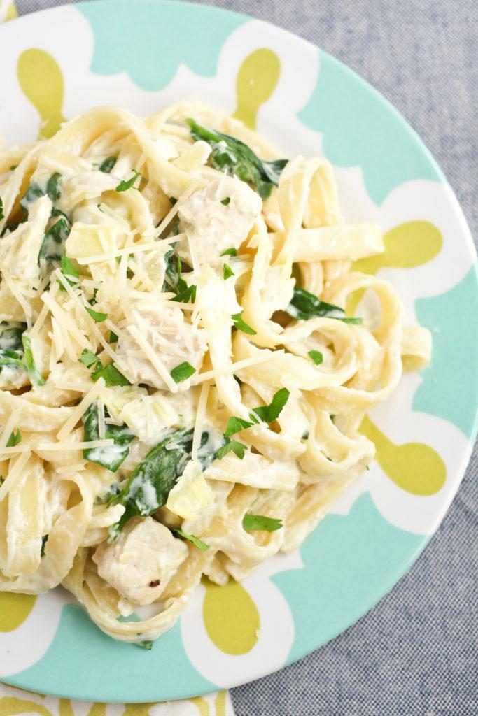 Lightened Spinach Artichoke Chicken Alfredo Recipe