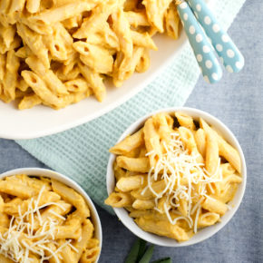 So delicious and healthy!! Cheesy butternut squash sauce over Barilla® ProteinPLUS® pasta.