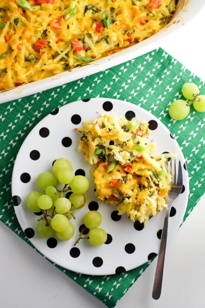 A colorful and healthy breakfast - healthier hashbrown casserole.